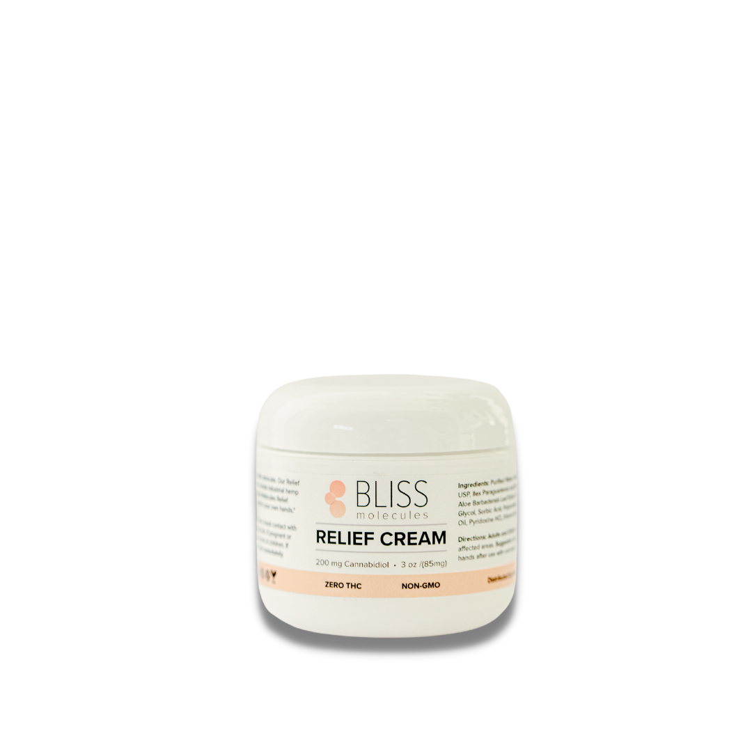 AS FEATURED ON CELEBSTONER HOLIDAY GIFT GUIDE 2020 Relief Cream contains 200mg of hemp extract per 3oz jar. The cream is applied topically for temporary relief to treat pain and discomfort from muscles and joints. Peppermint and lavender oils help carry the hemp extract under the dermatome targeting problem areas, while aloe provides hydration for the skin.